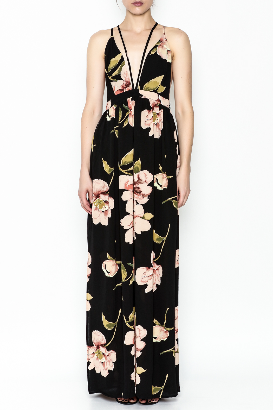 Latiste Printed Strapy Maxi Dress - Front Full Image