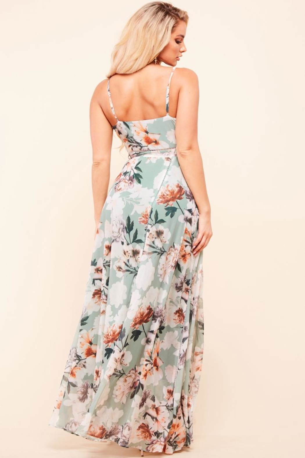 Latiste Sage Floral Dress - Front Full Image