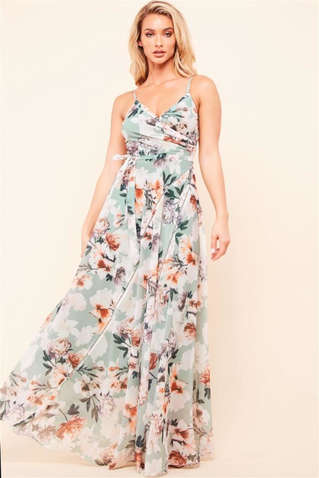 Latiste Sage Floral Dress - Main Image