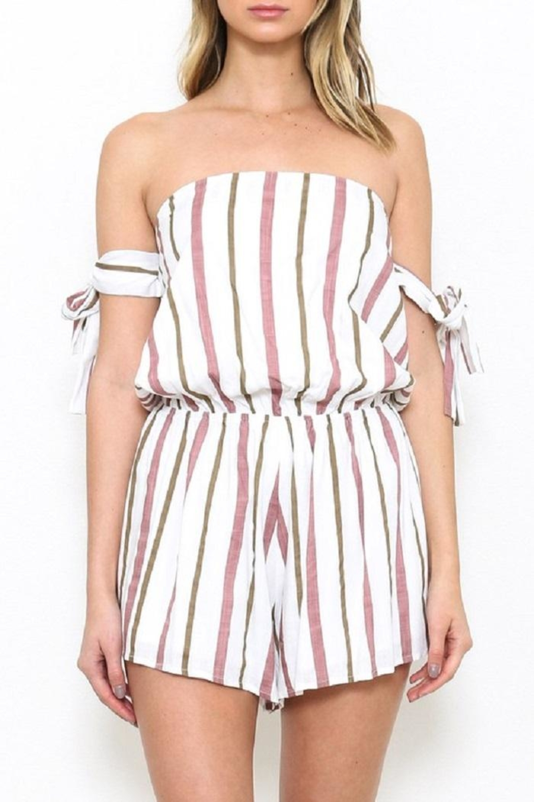 Latiste Stripe Ots Romper - Front Cropped Image