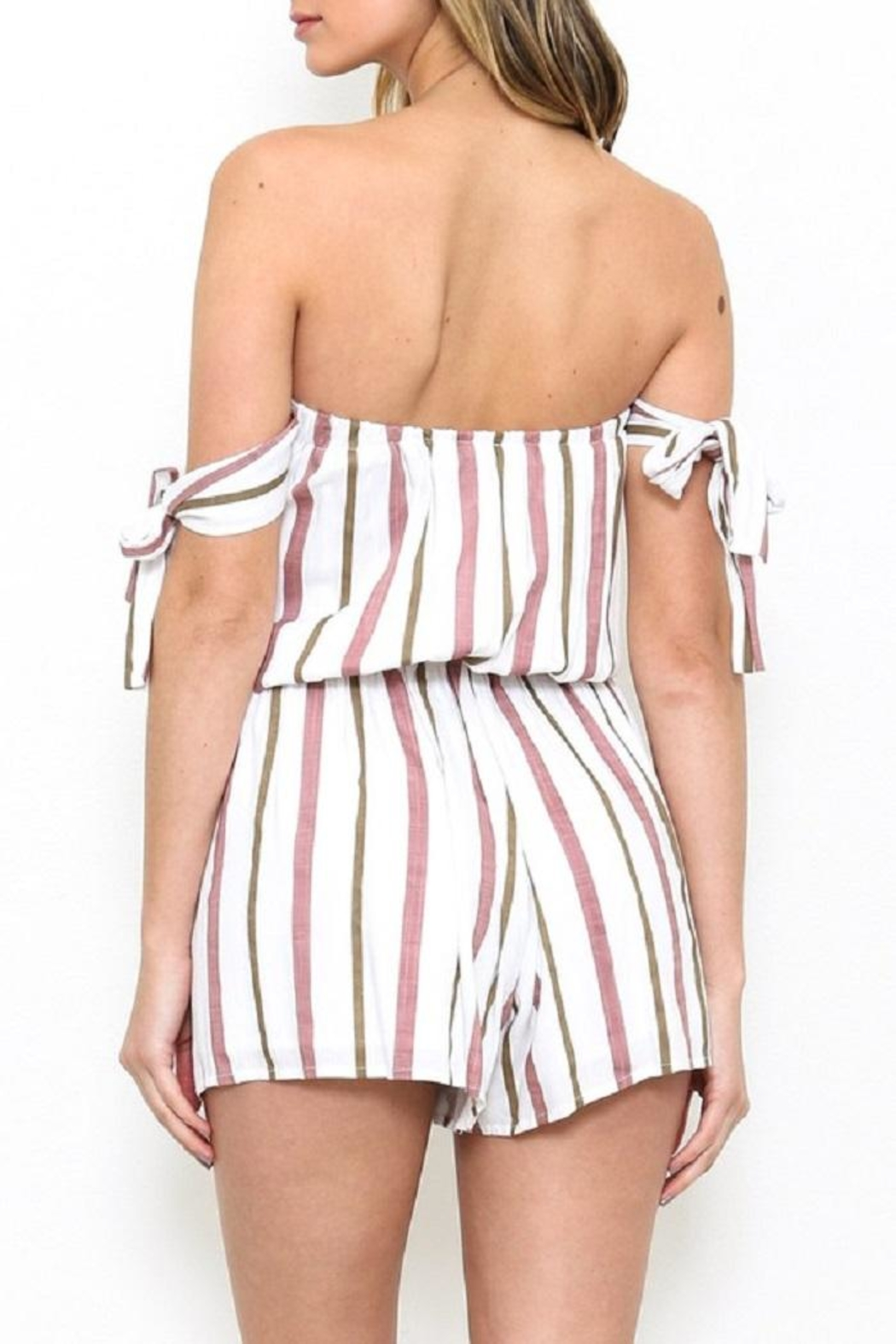 Latiste Striped Ots Romper - Side Cropped Image