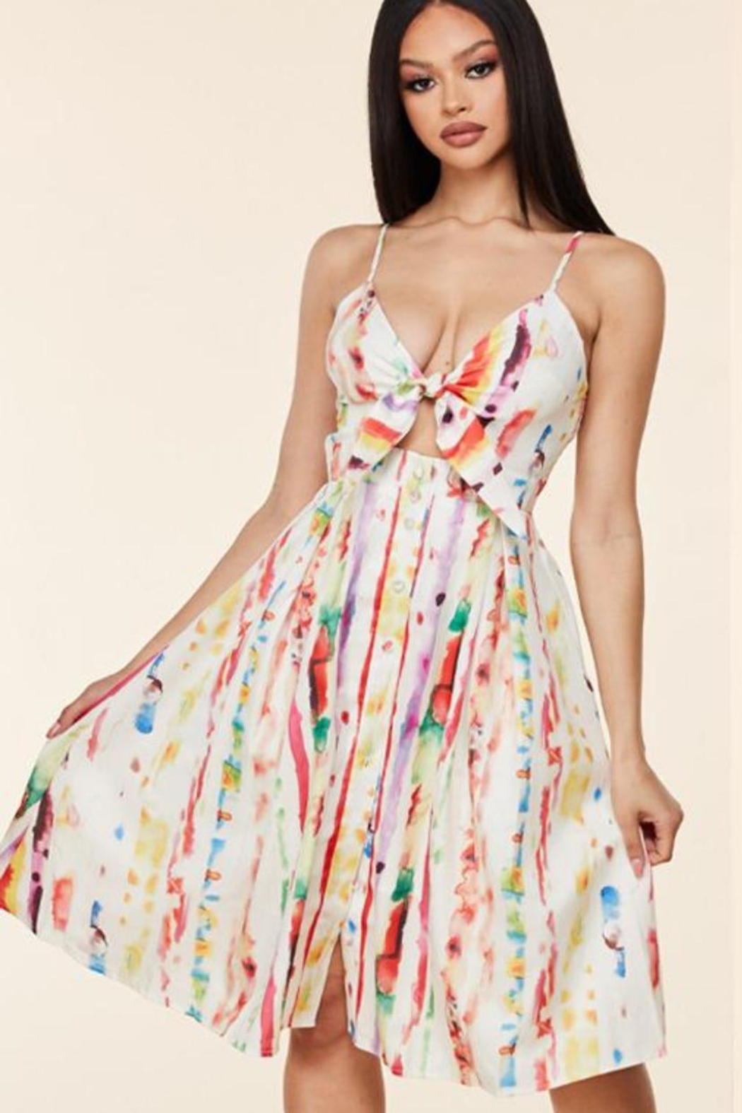 Latiste Summer Watercolor Dress - Front Cropped Image