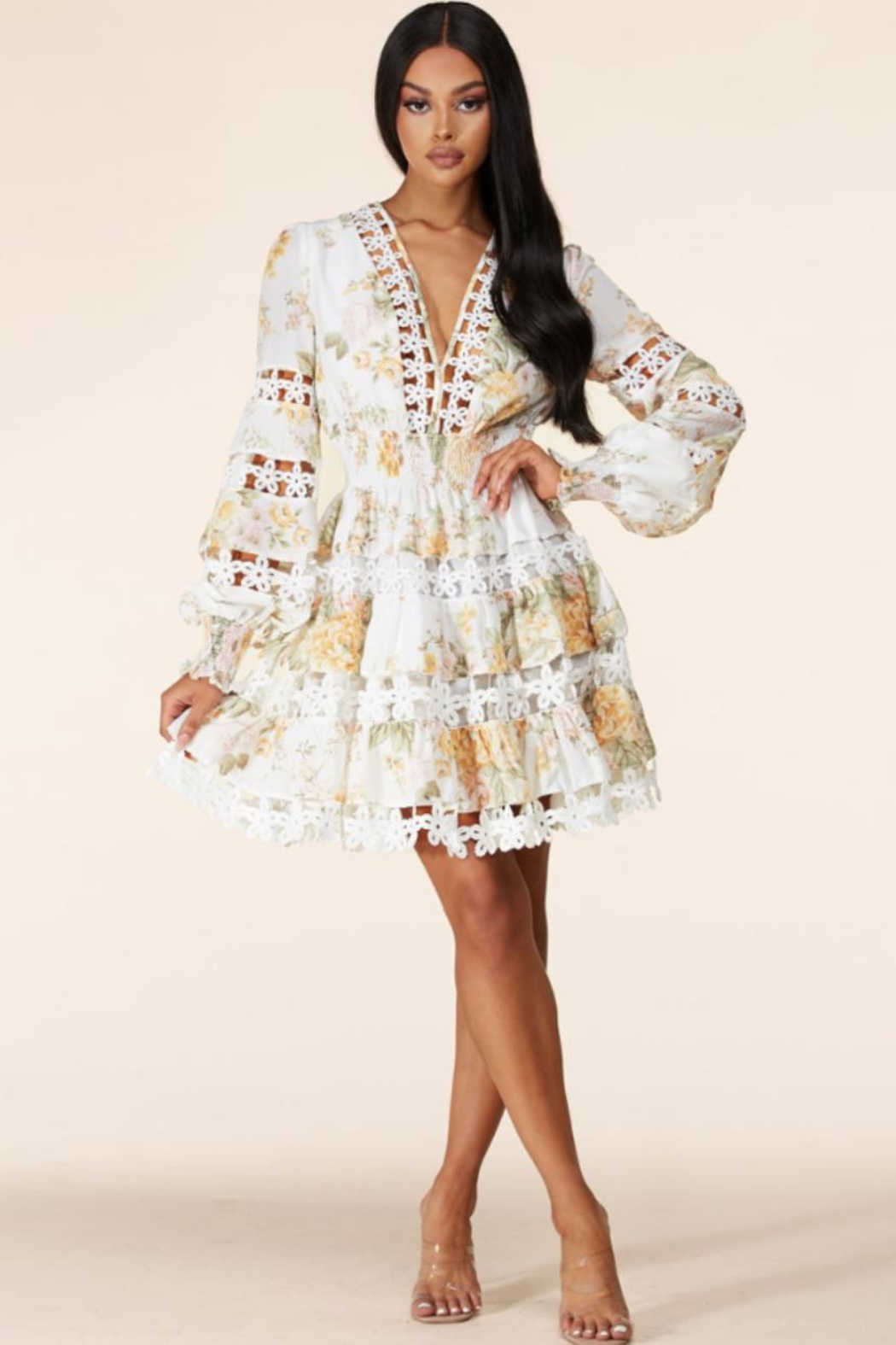 Latiste Tiered Floral Dress - Main Image