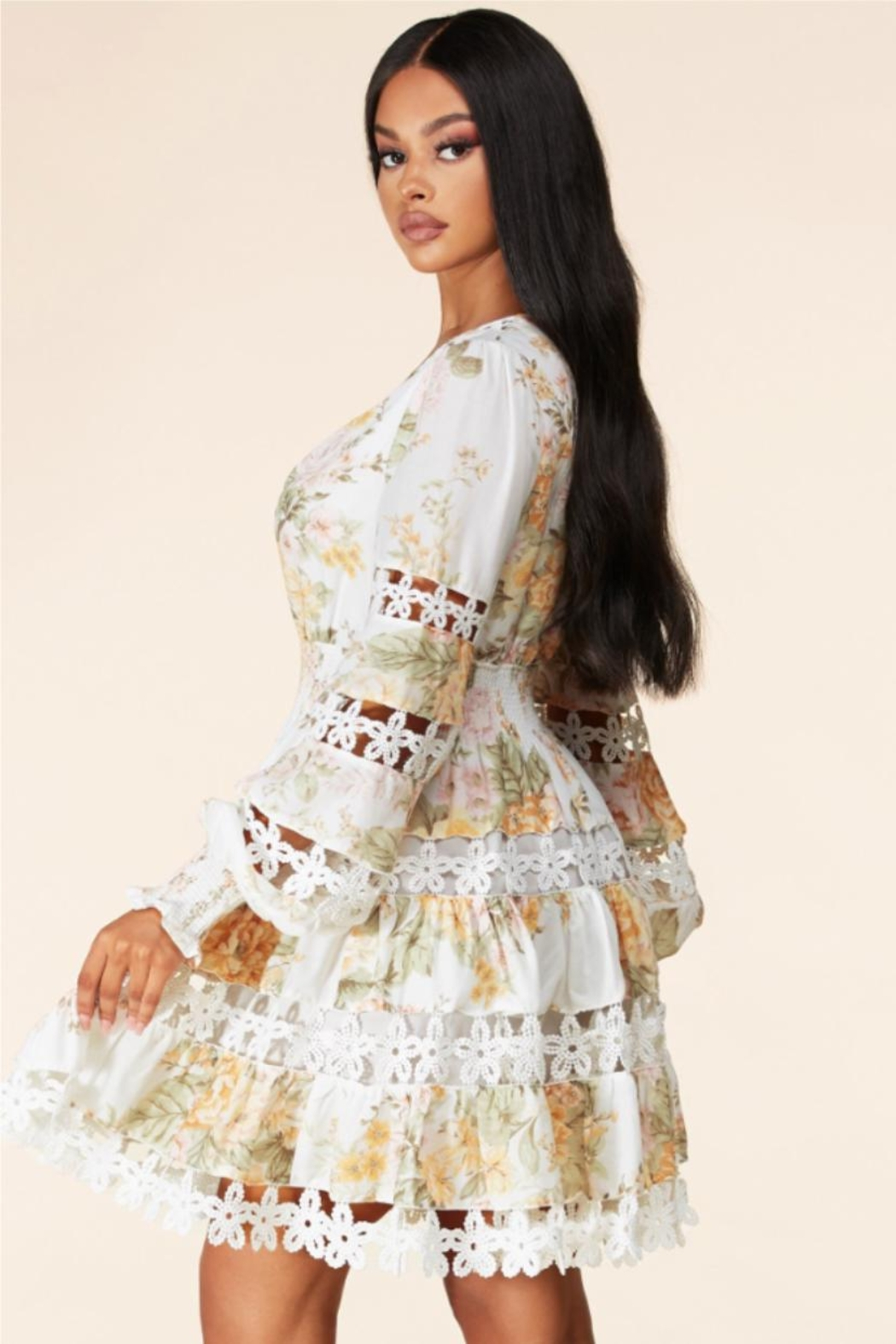 Latiste Tiered Floral Dress - Front Full Image
