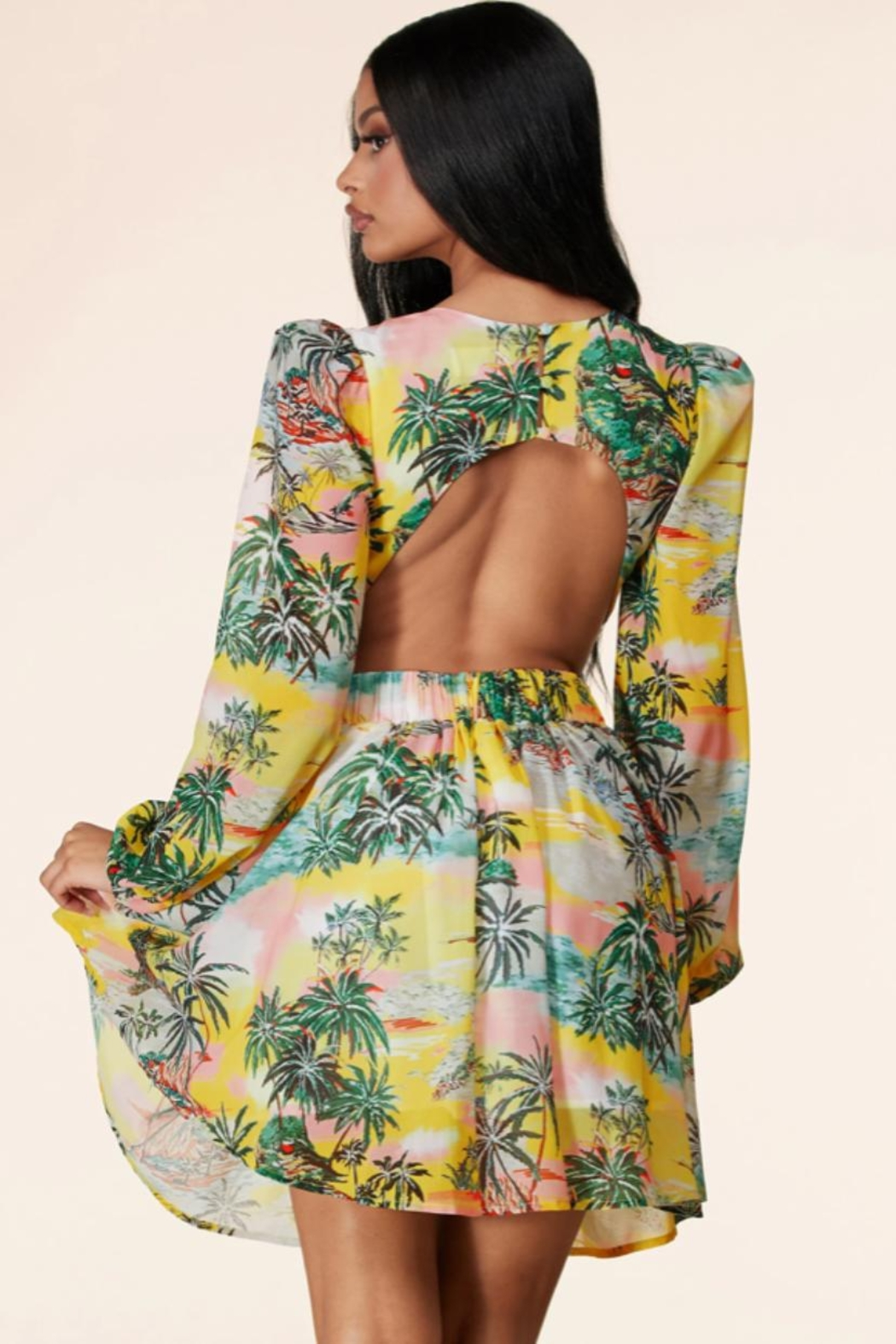 Latiste Tropical Cut-Out Dress - Side Cropped Image