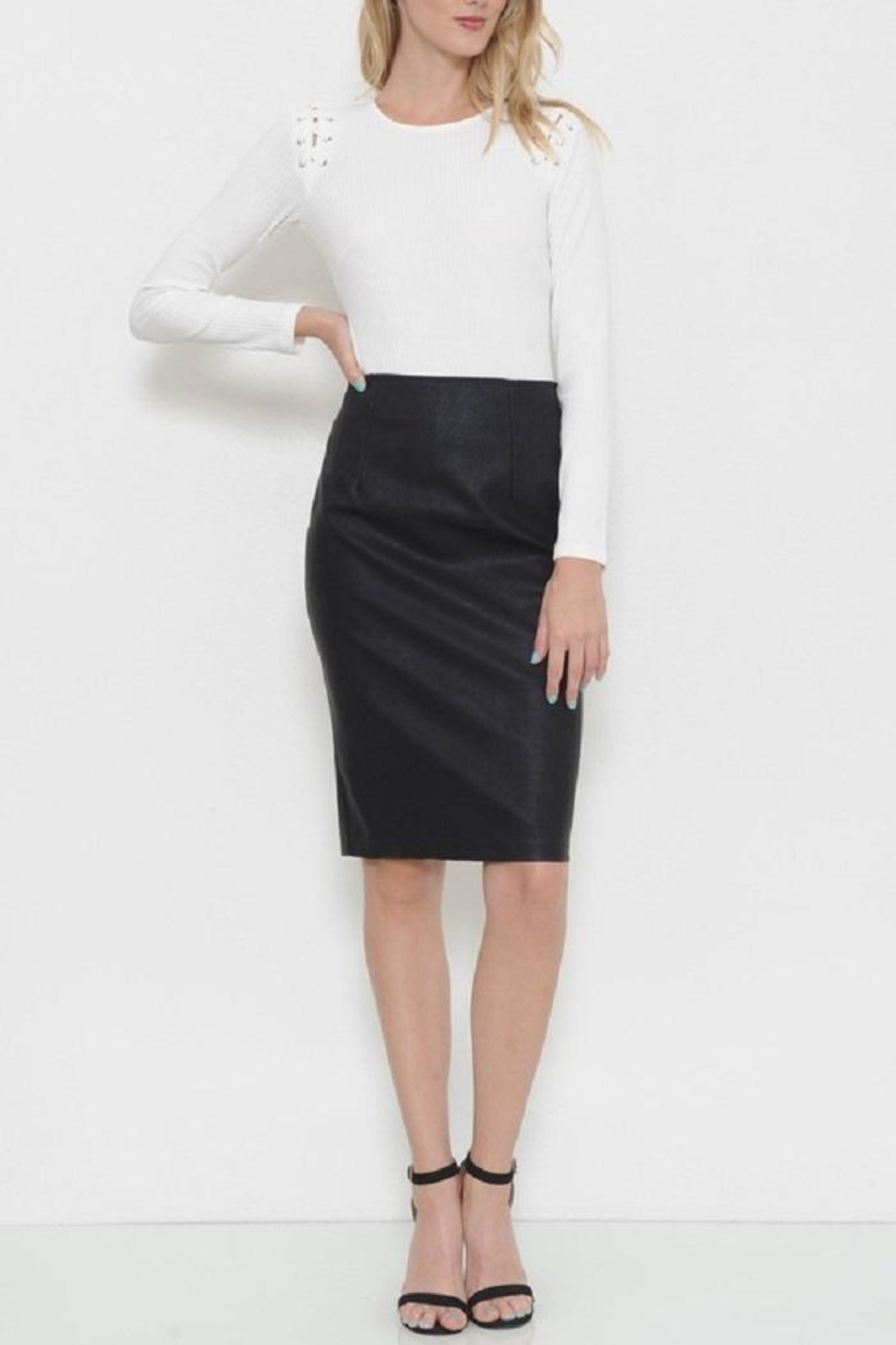 Latiste Vegan Leather Skirt - Front Cropped Image