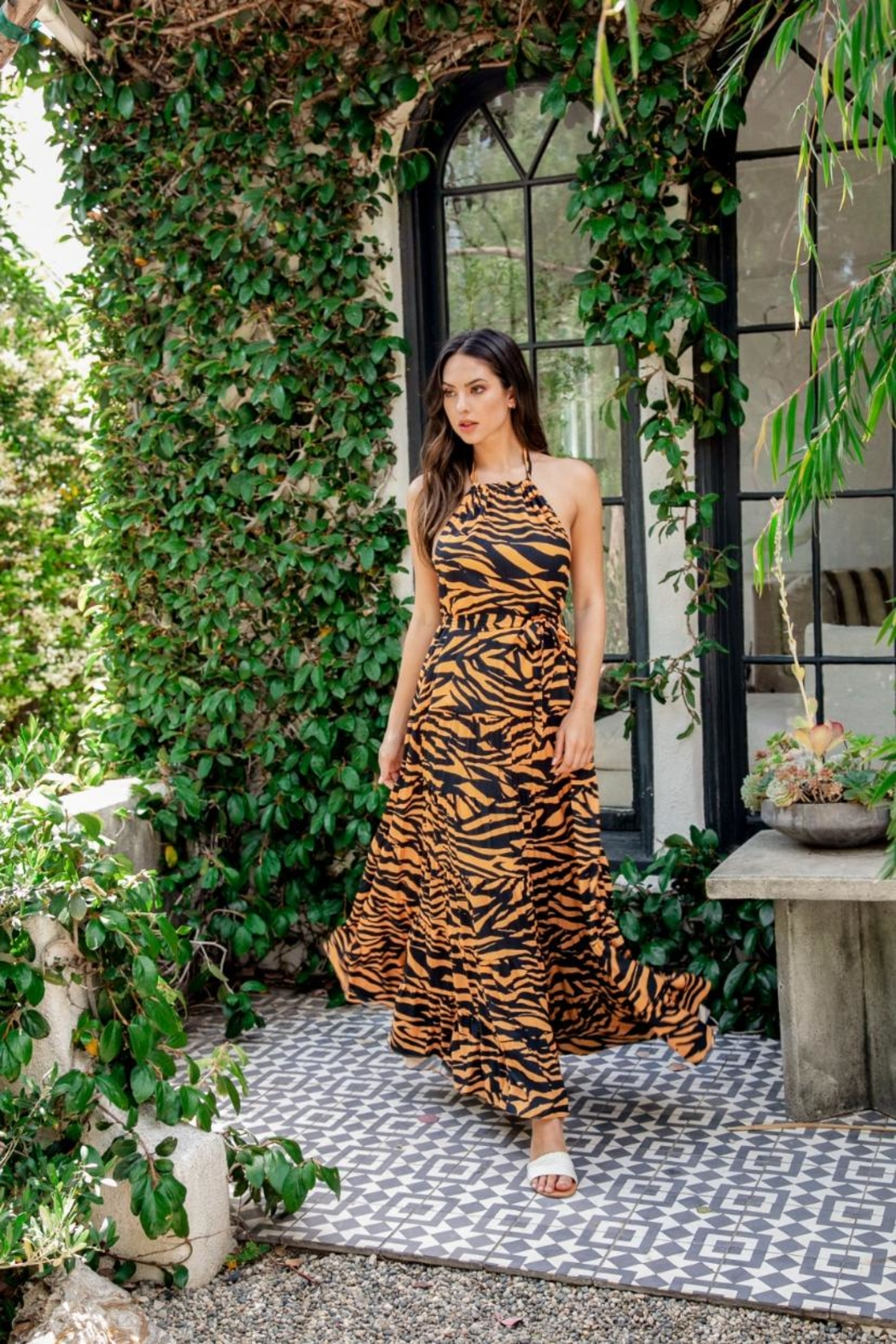 Latiste Zebra Halter Maxi-Dress - Front Full Image