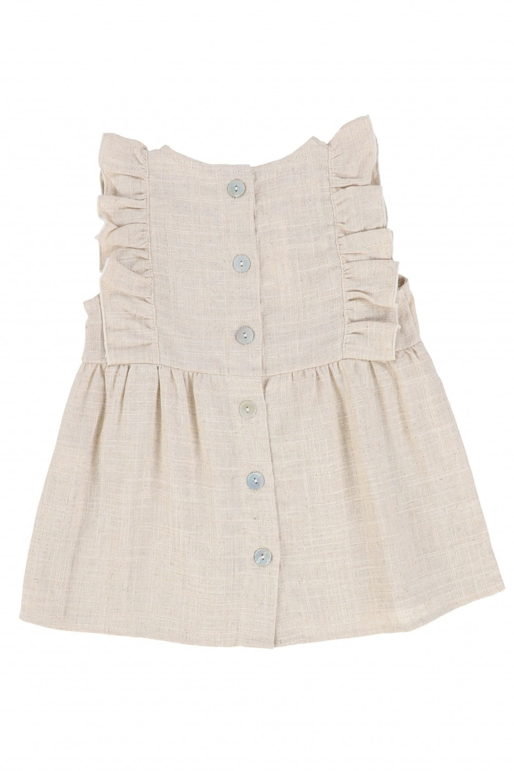 Latte Baby and Child | Girls' Ruffled metallic jumper - Front Full Image
