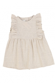 Latte Baby and Child | Girls' Ruffled metallic jumper - Front cropped
