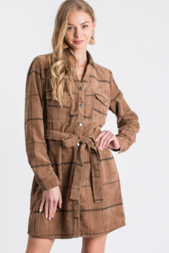 Must Have Latte Corduroy Grid Pattern Pocketed Shacket - Product List Image