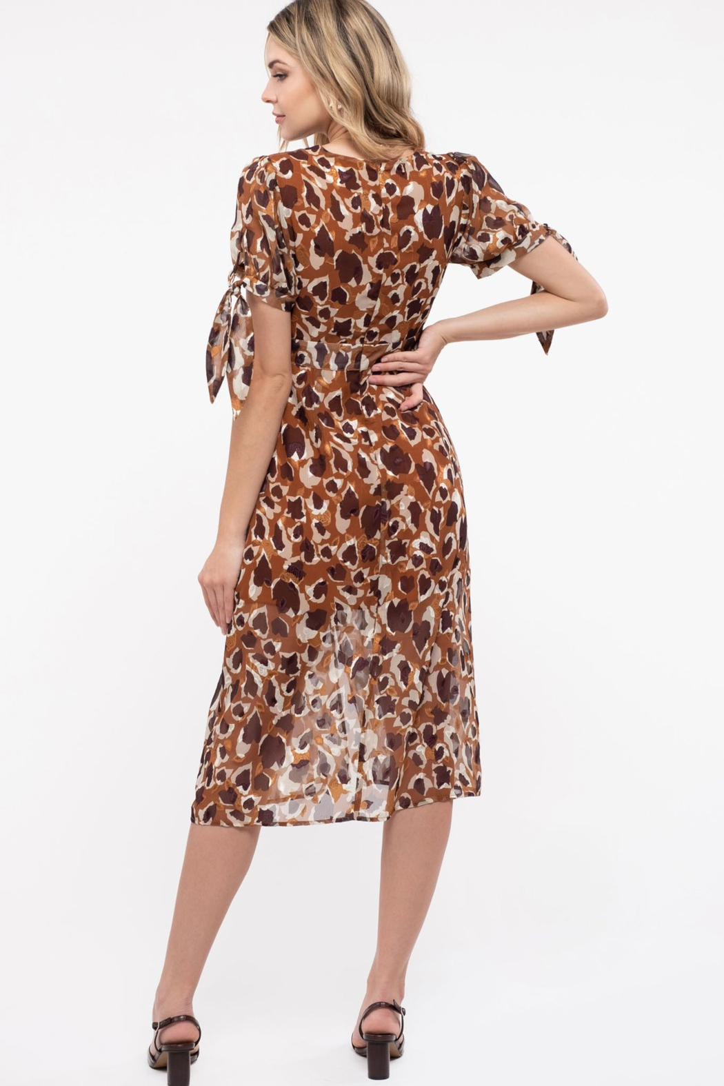 Just One Answer Latte Leopard Print Midi Dress - Front Full Image