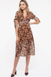Just One Answer Latte Leopard Print Midi Dress - Front cropped