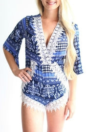 Laundry Blue Patterned Romper - Front cropped