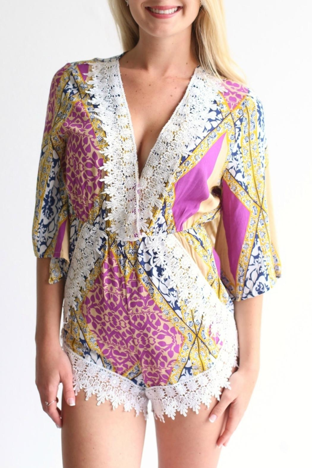 Laundry Patterned Romper - Front Cropped Image