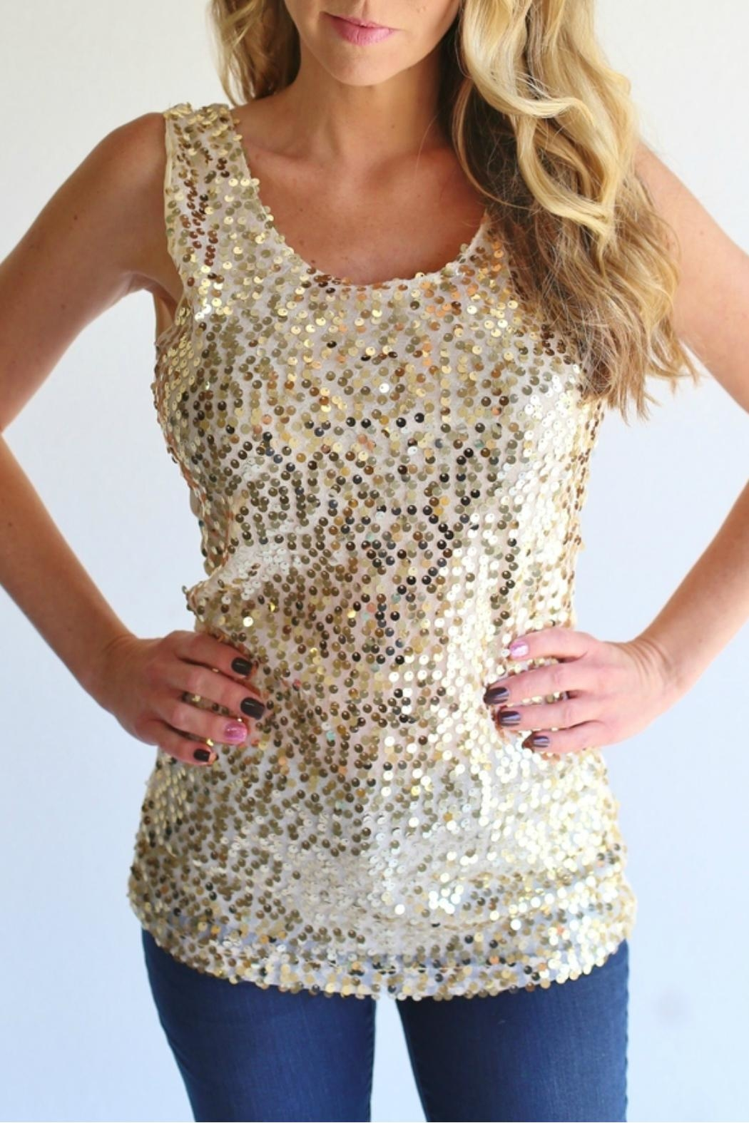 Laundry Sequin Gold Tank - Front Full Image