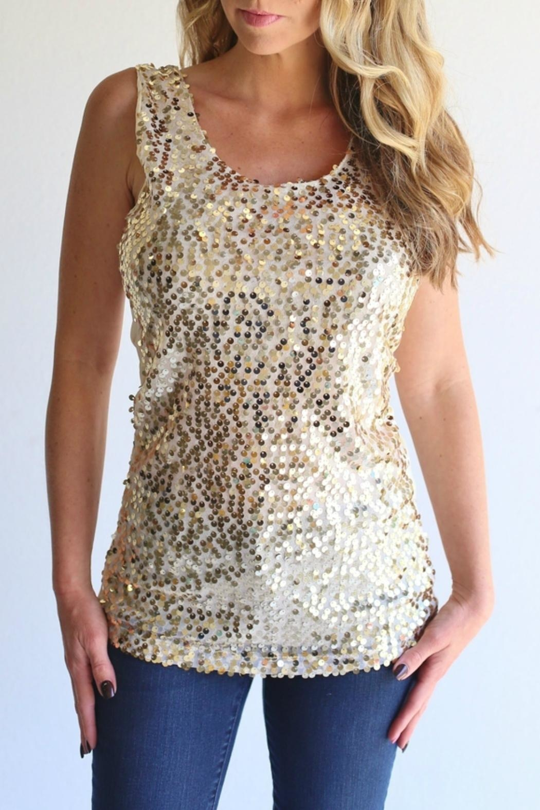 Laundry Sequin Gold Tank - Main Image