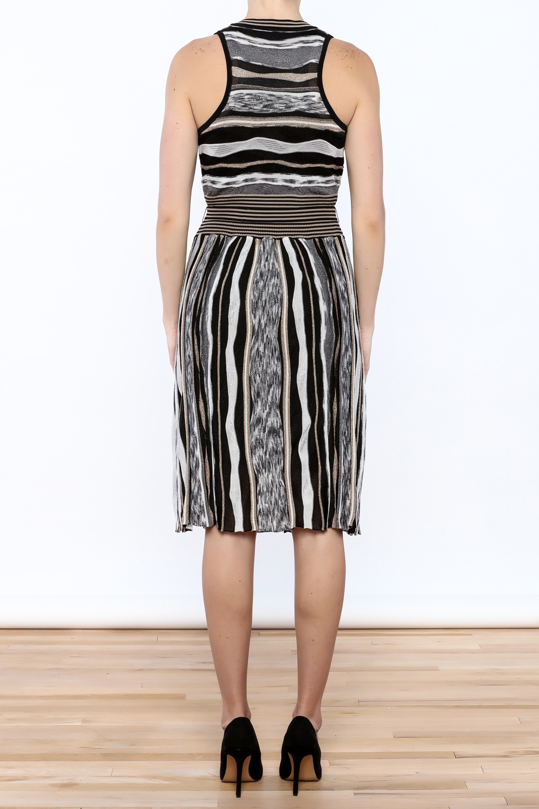 Laundry Stripe Knee Dress - Back Cropped Image