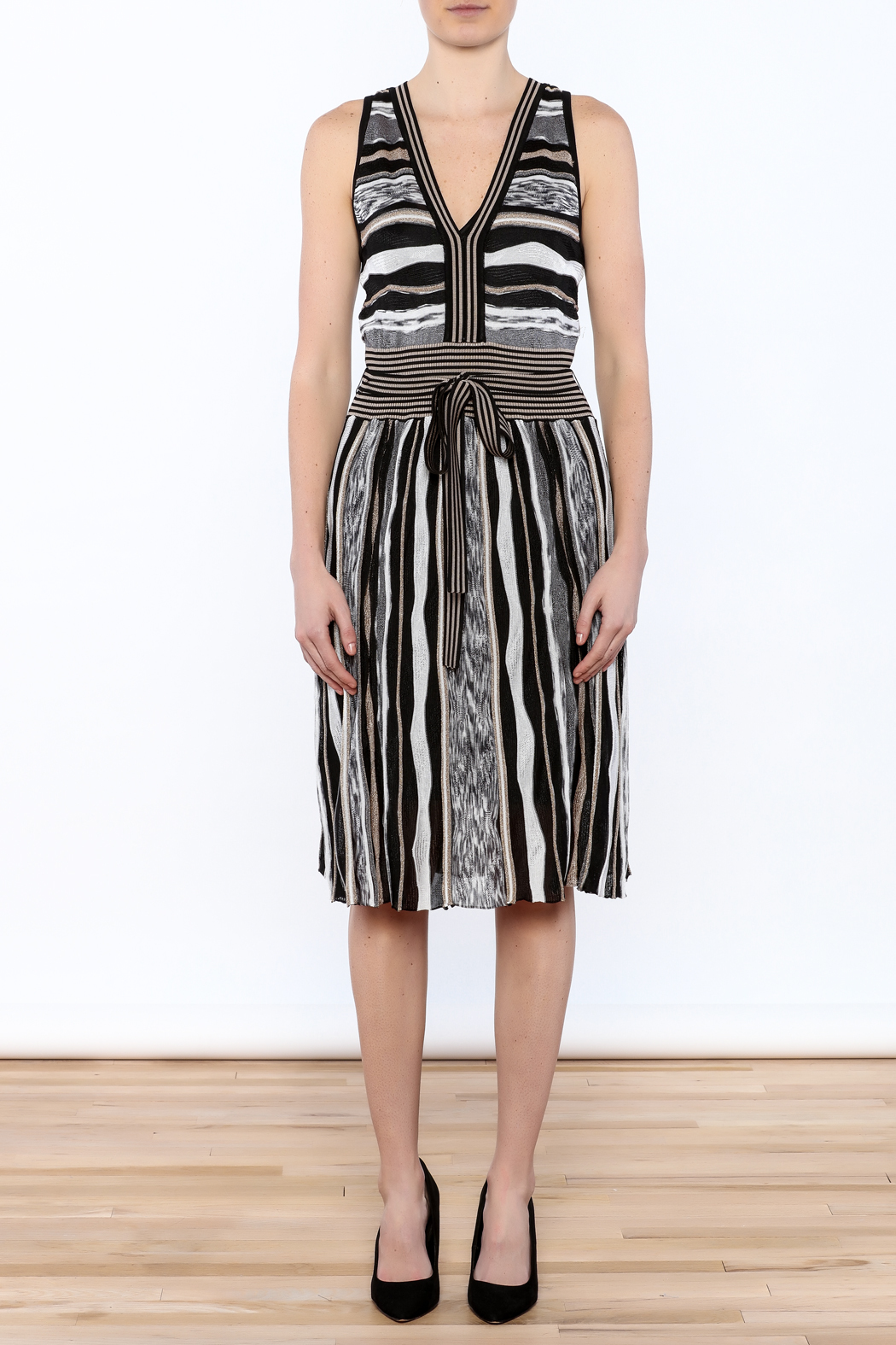 Laundry Stripe Knee Dress - Front Cropped Image