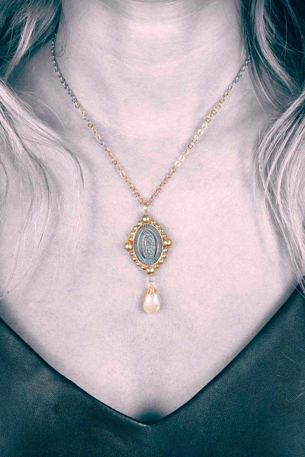 Laura Cantu Virgin Guadalupe Moonstone - Side Cropped Image