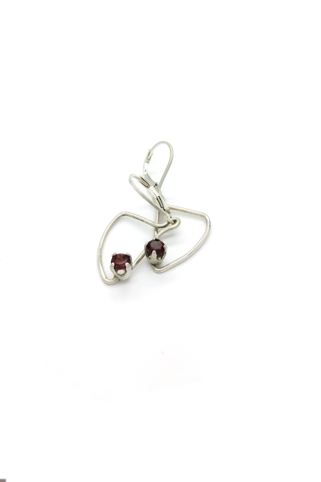 Laura Jane's Jewelry Assymetric Garnet Earrings - Front Full Image
