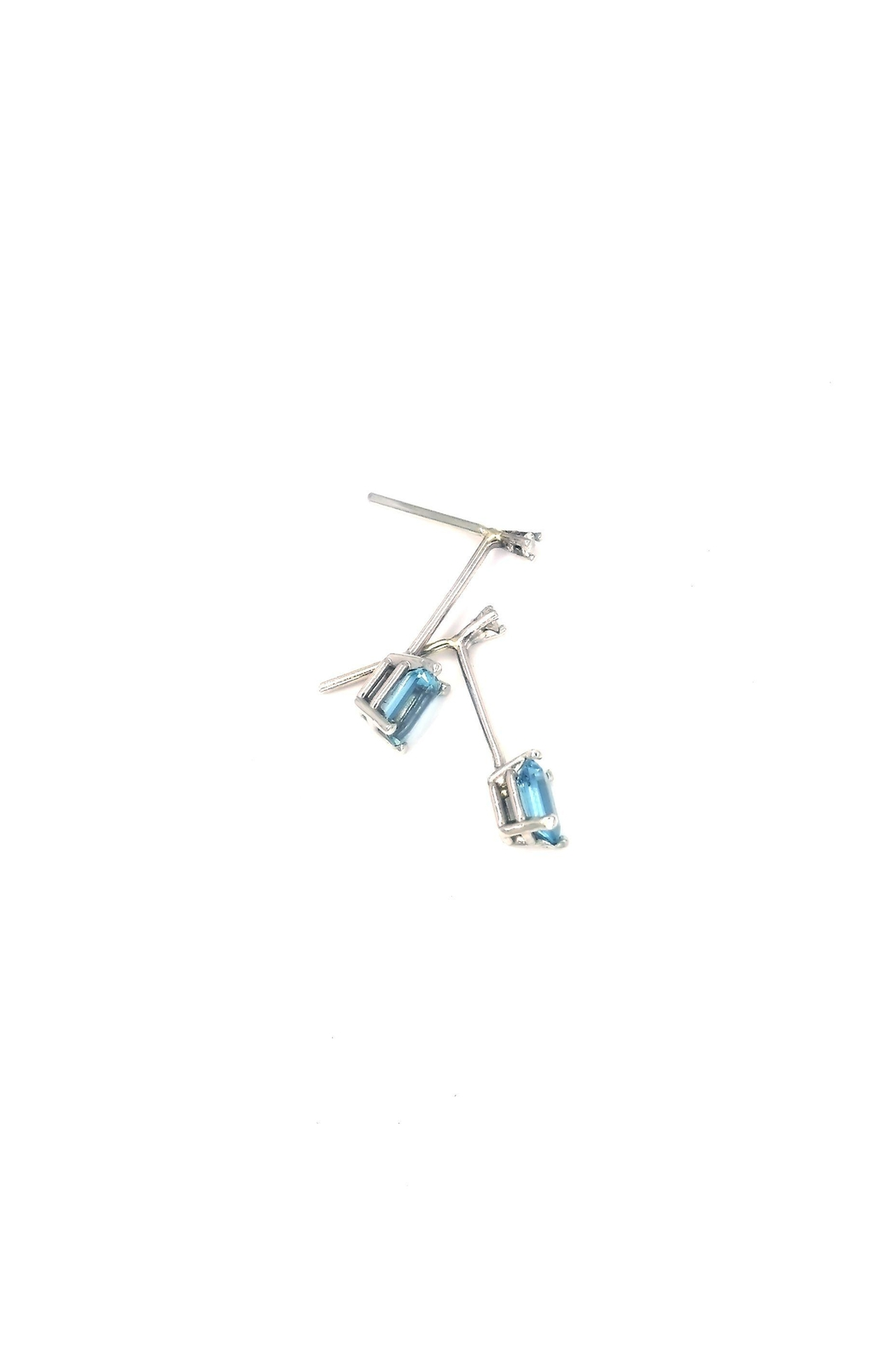Laura Jane's Jewelry Diamond Aquamarine Drop Earrings - Side Cropped Image