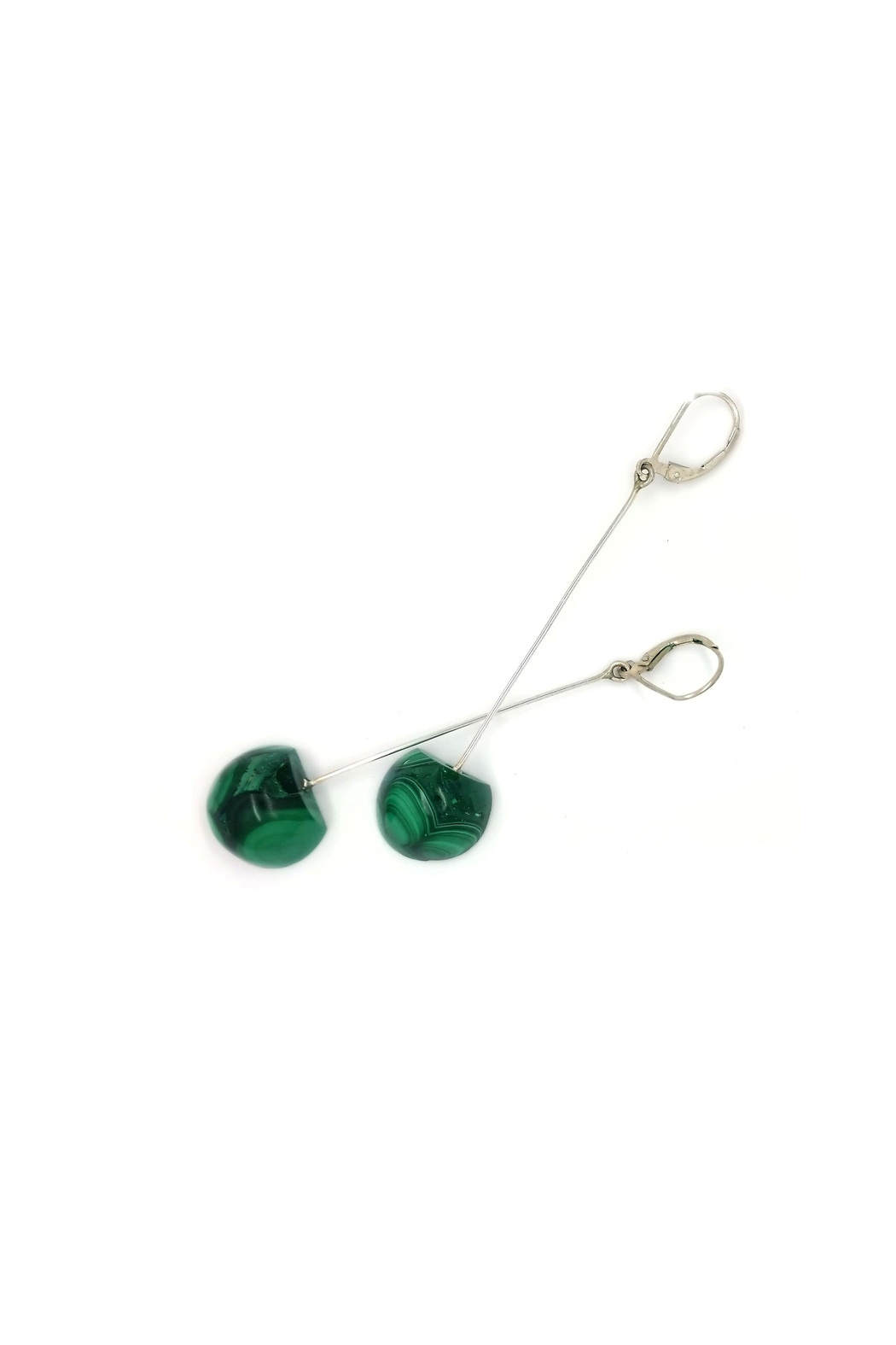Laura Jane's Jewelry Malachite Drop Earrings - Side Cropped Image