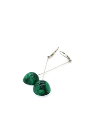 Laura Jane's Jewelry Malachite Drop Earrings - Front full body