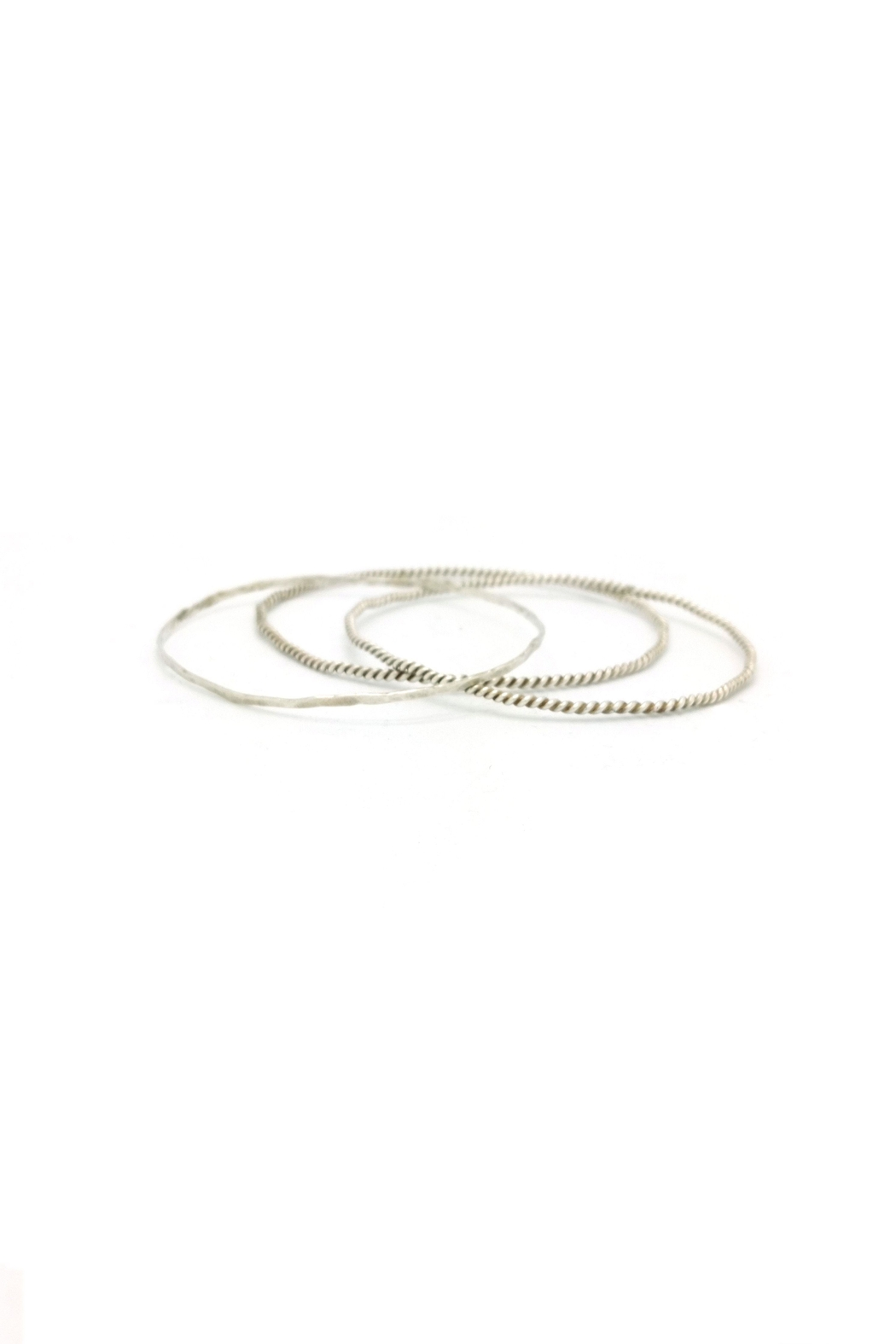 Laura Jane's Jewelry Silver Bangle Trio - Side Cropped Image