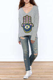 Lauren Moshi Hacci V-neck Sweatshirt - Front full body