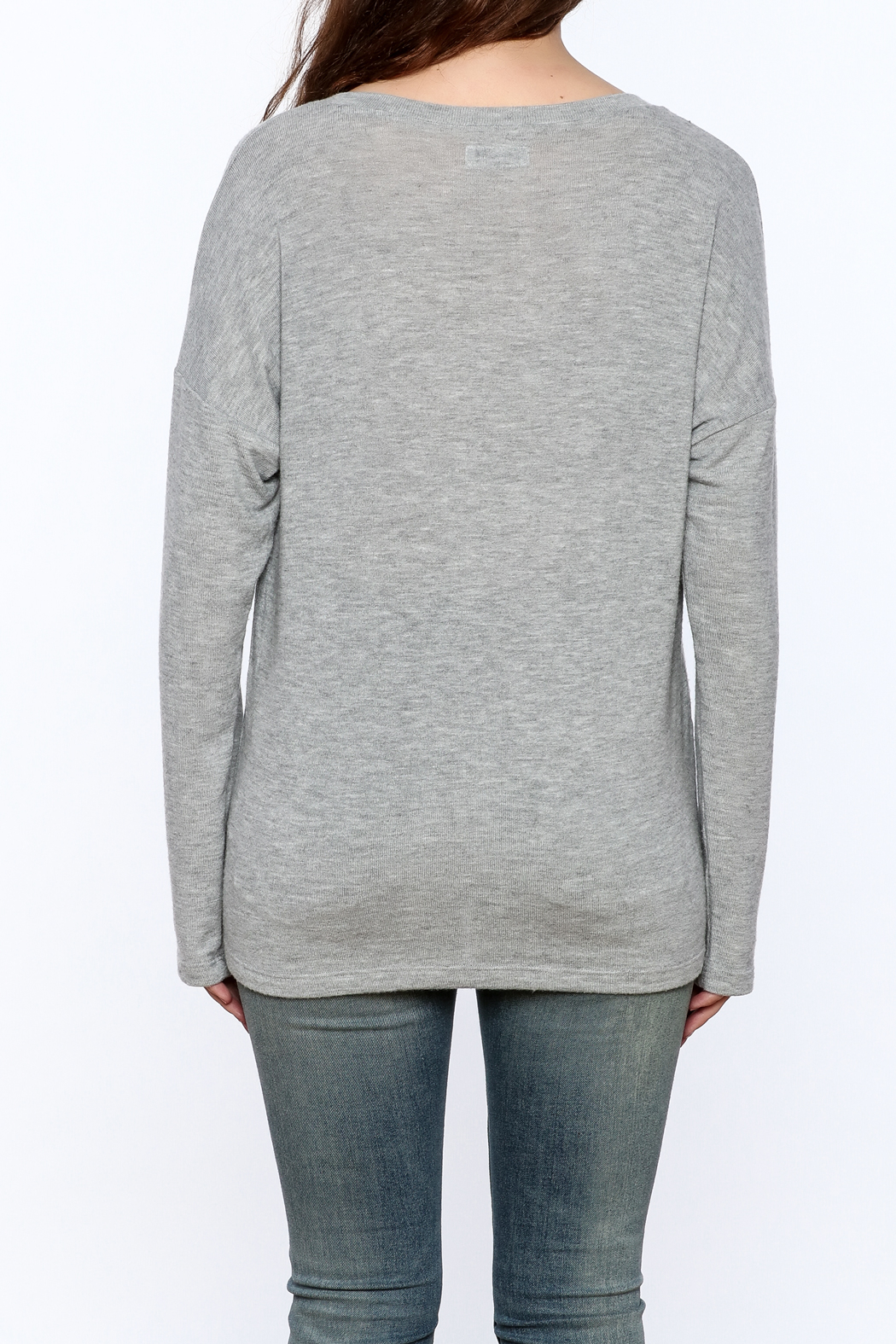 Lauren Moshi Hacci V-neck Sweatshirt - Back Cropped Image