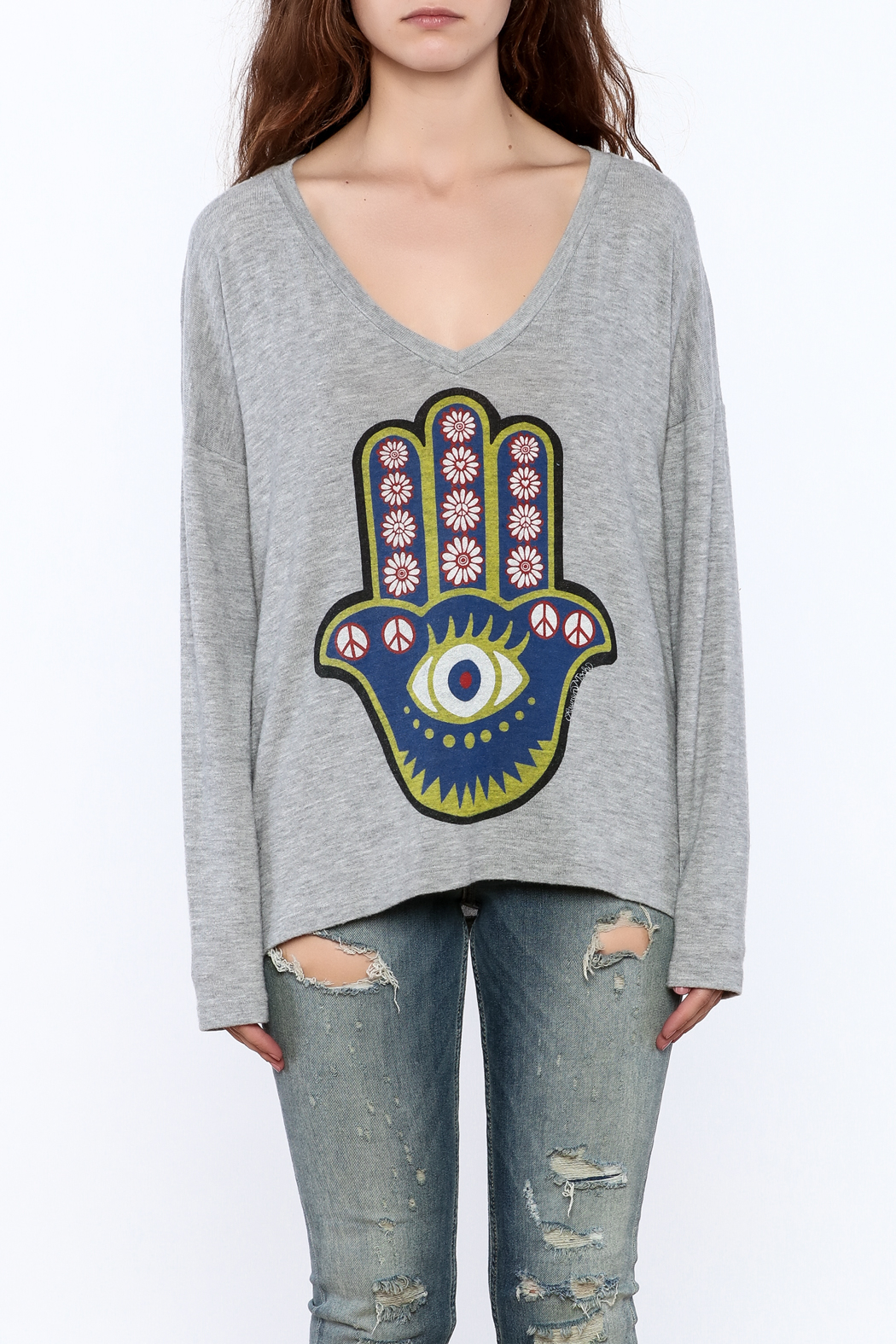 Lauren Moshi Hacci V-neck Sweatshirt - Side Cropped Image