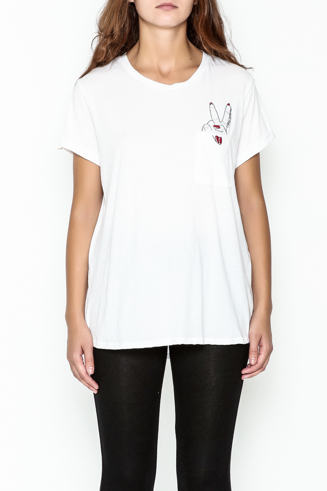 Lauren Moshi Peace Sign Pocket Tee - Front Full Image