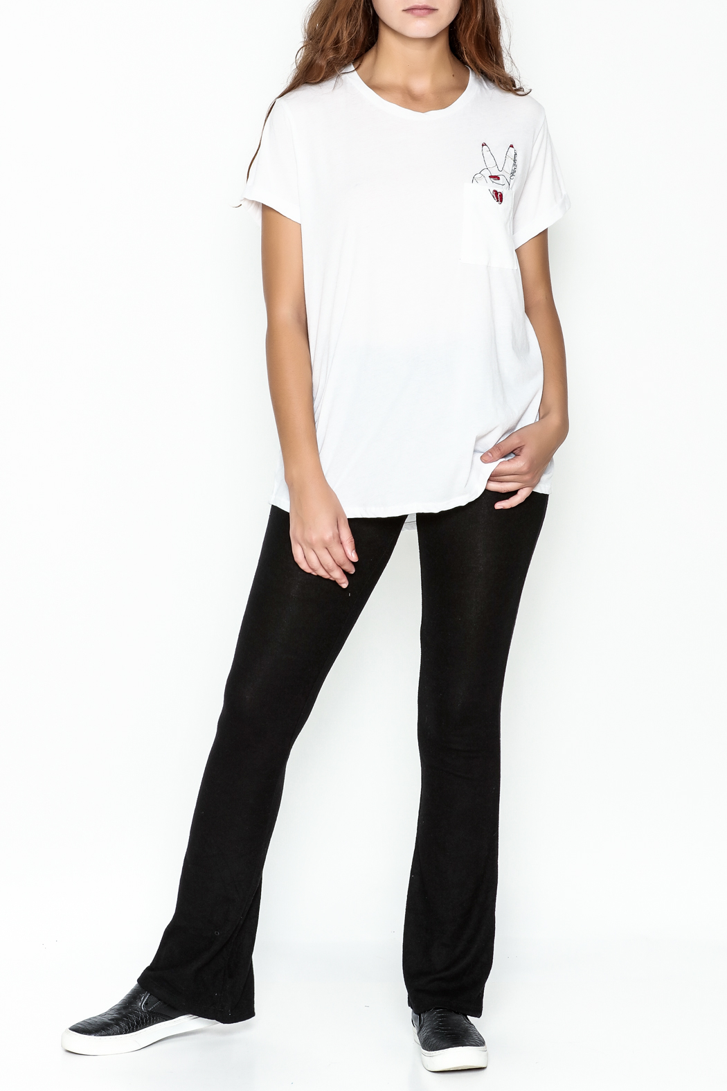 Lauren Moshi Peace Sign Pocket Tee - Side Cropped Image