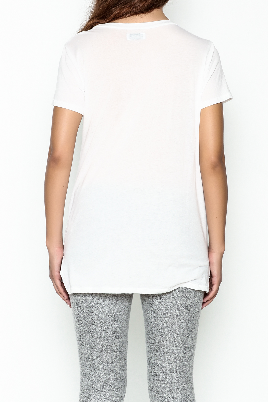 Lauren Moshi V Neck Graphic Tee - Back Cropped Image
