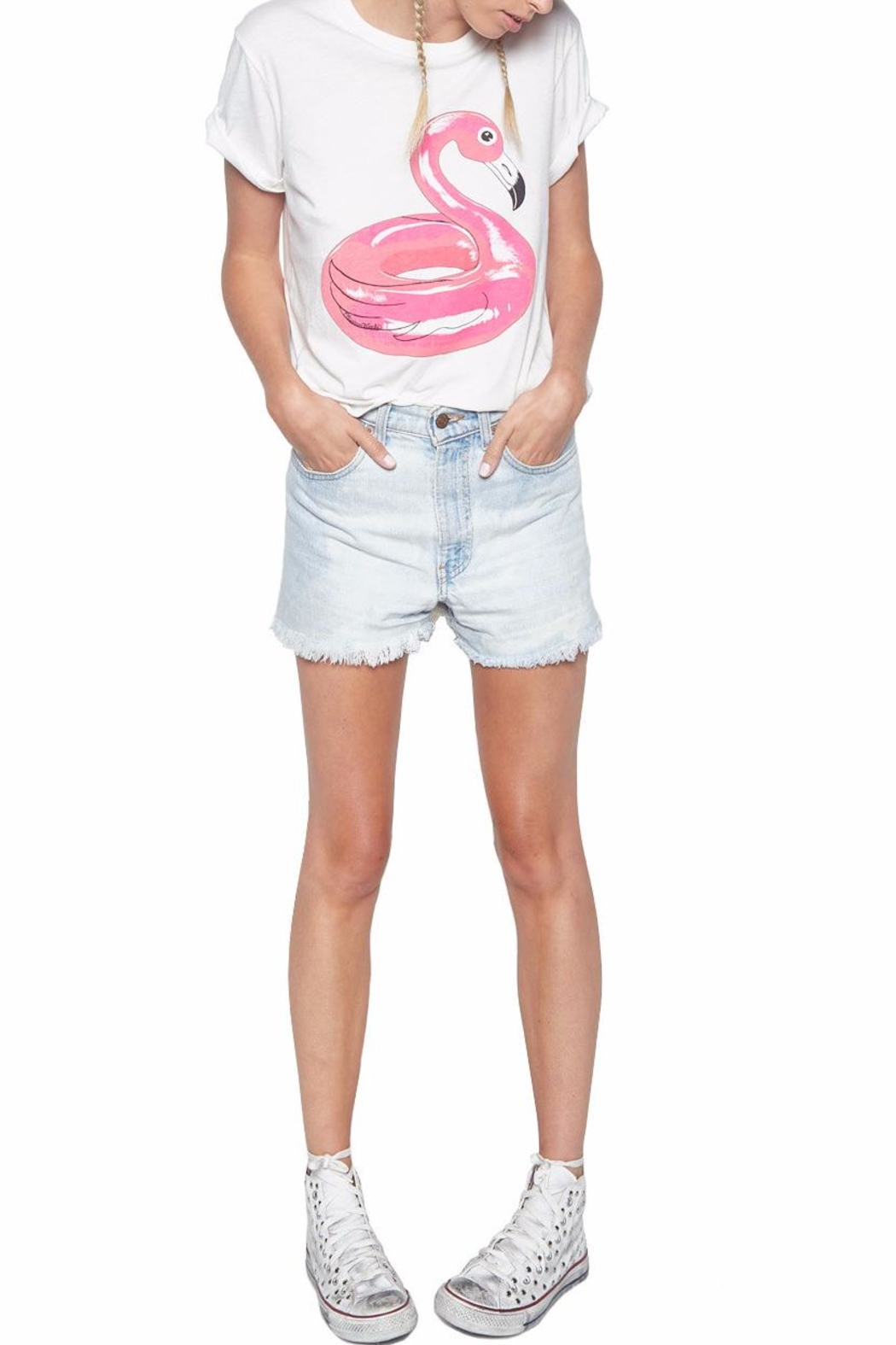Lauren Moshi Evie Flamingo Tee - Side Cropped Image