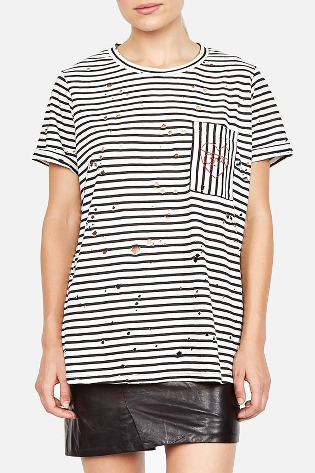 Lauren Moshi Love Distressed Tee - Side Cropped Image