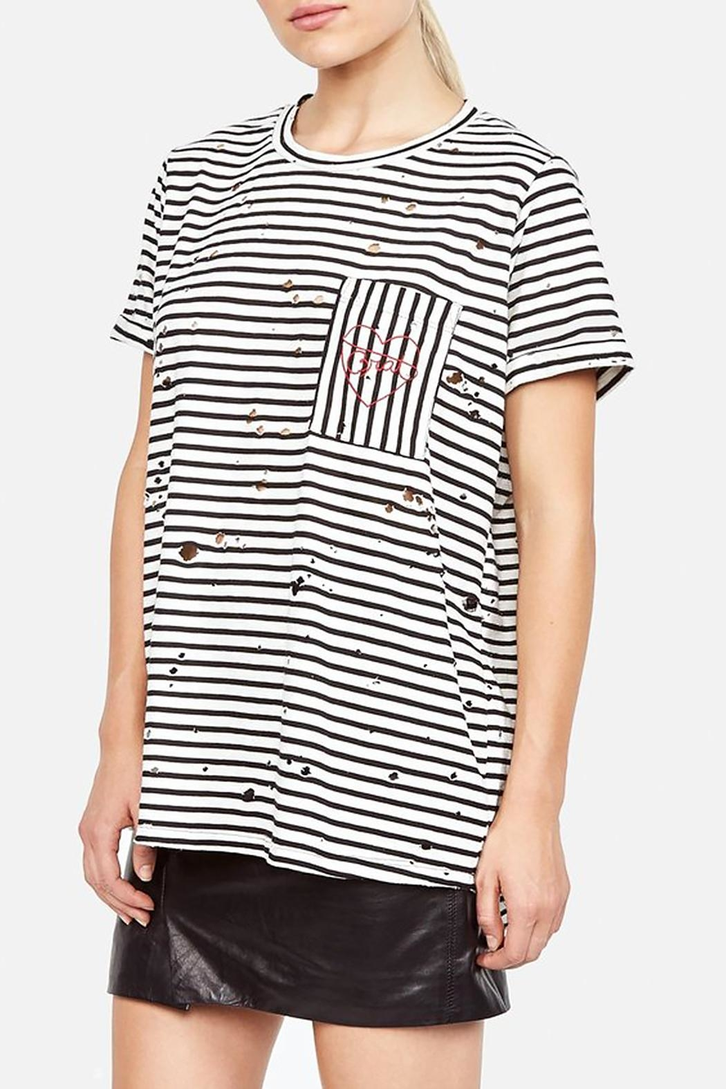 Lauren Moshi Love Distressed Tee - Back Cropped Image