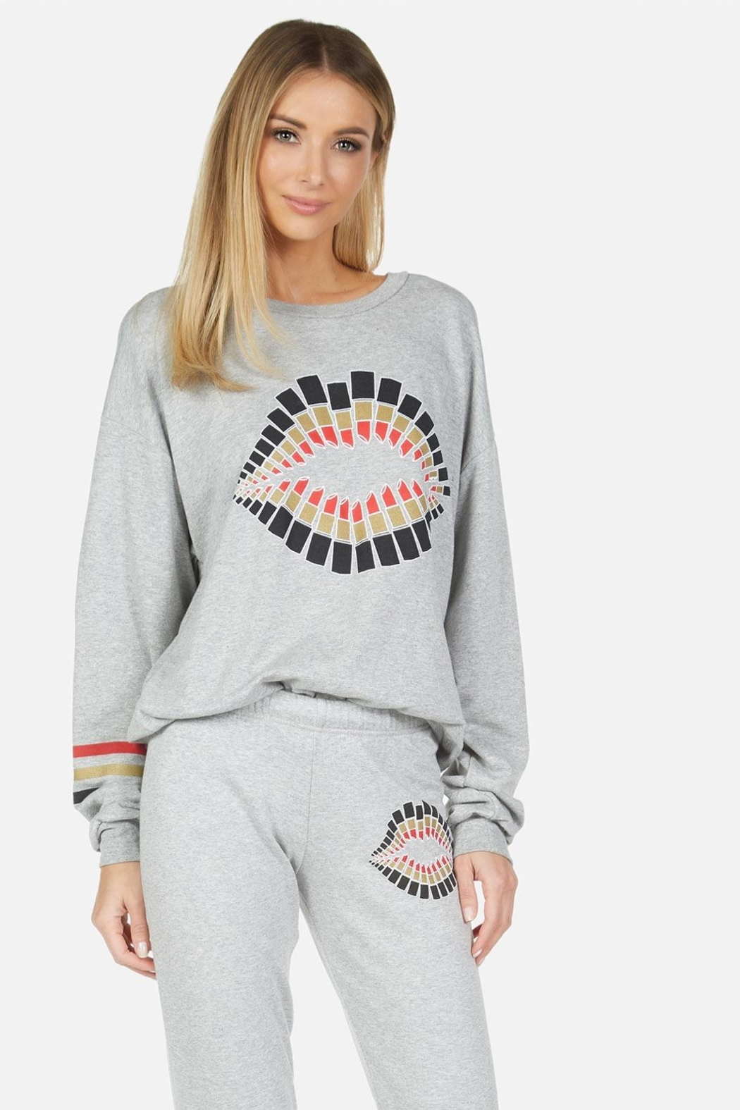 Lauren Moshi Sweatshirt With Lipstick Graphic - Front Cropped Image