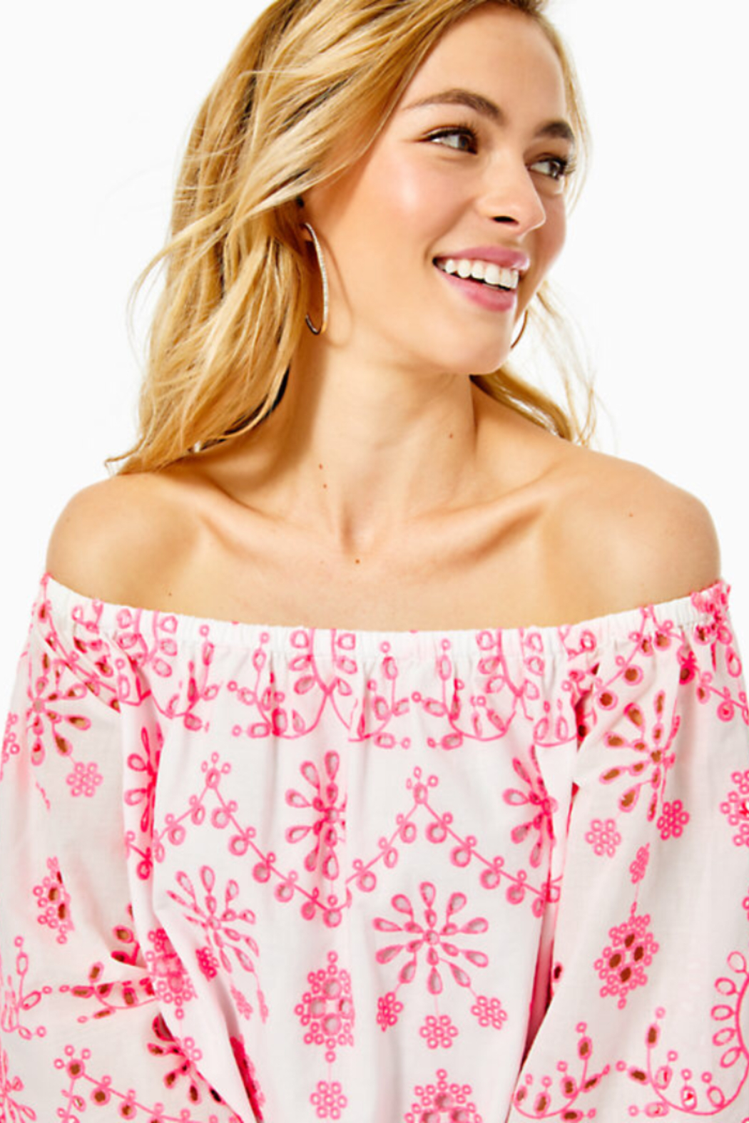 Lilly Pulitzer Laurenne Eyelet Top - Side Cropped Image