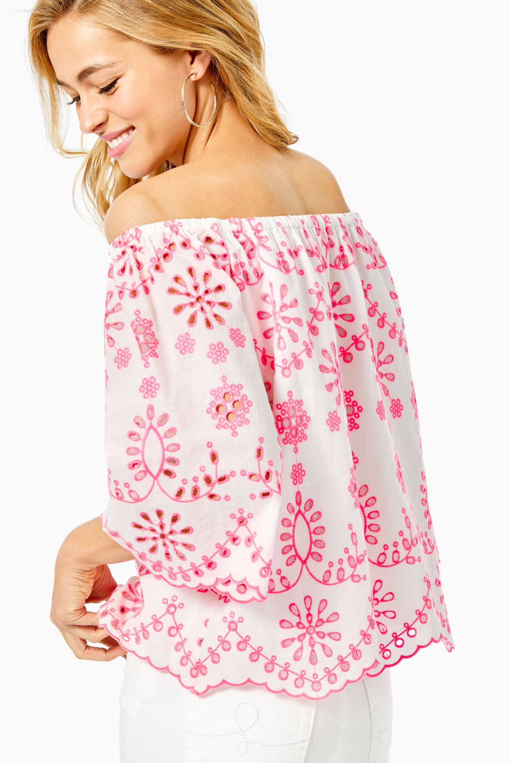 Lilly Pulitzer Laurenne Eyelet Top - Front Full Image