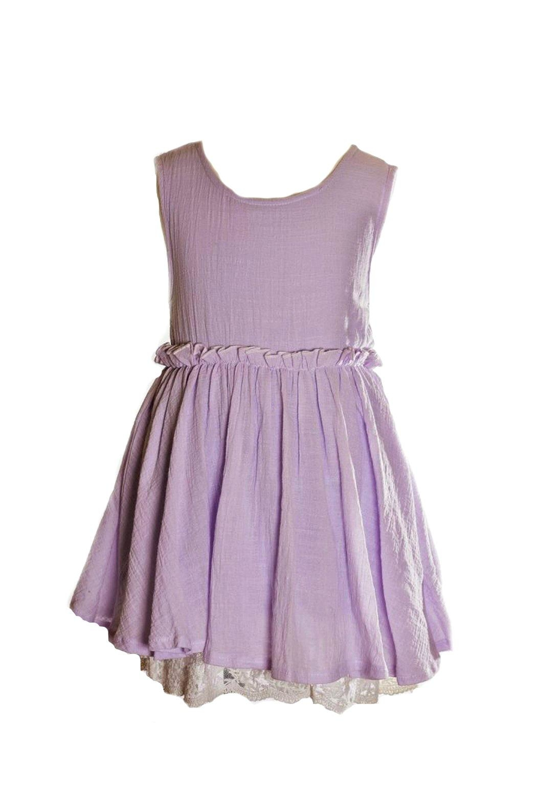 ML Kids Lavender Dress With-Lace-Hemline - Main Image