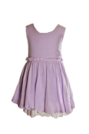 ML Kids Lavender Dress With-Lace-Hemline - Front cropped