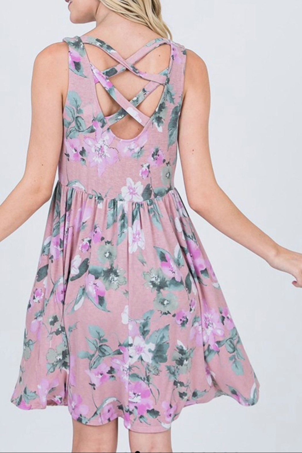 CY Fashion Lavender Floral Dress - Back Cropped Image