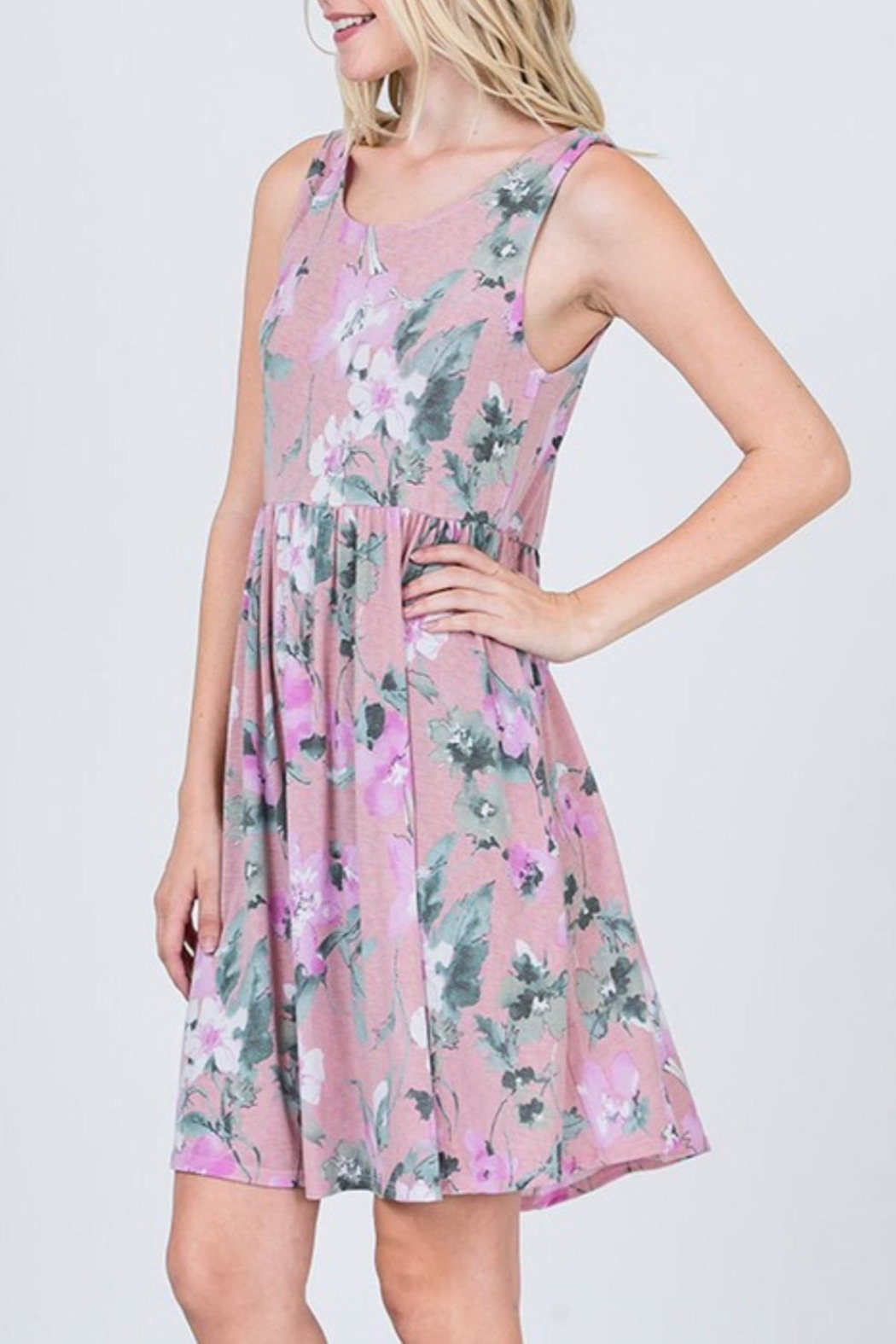 CY Fashion Lavender Floral Dress - Side Cropped Image