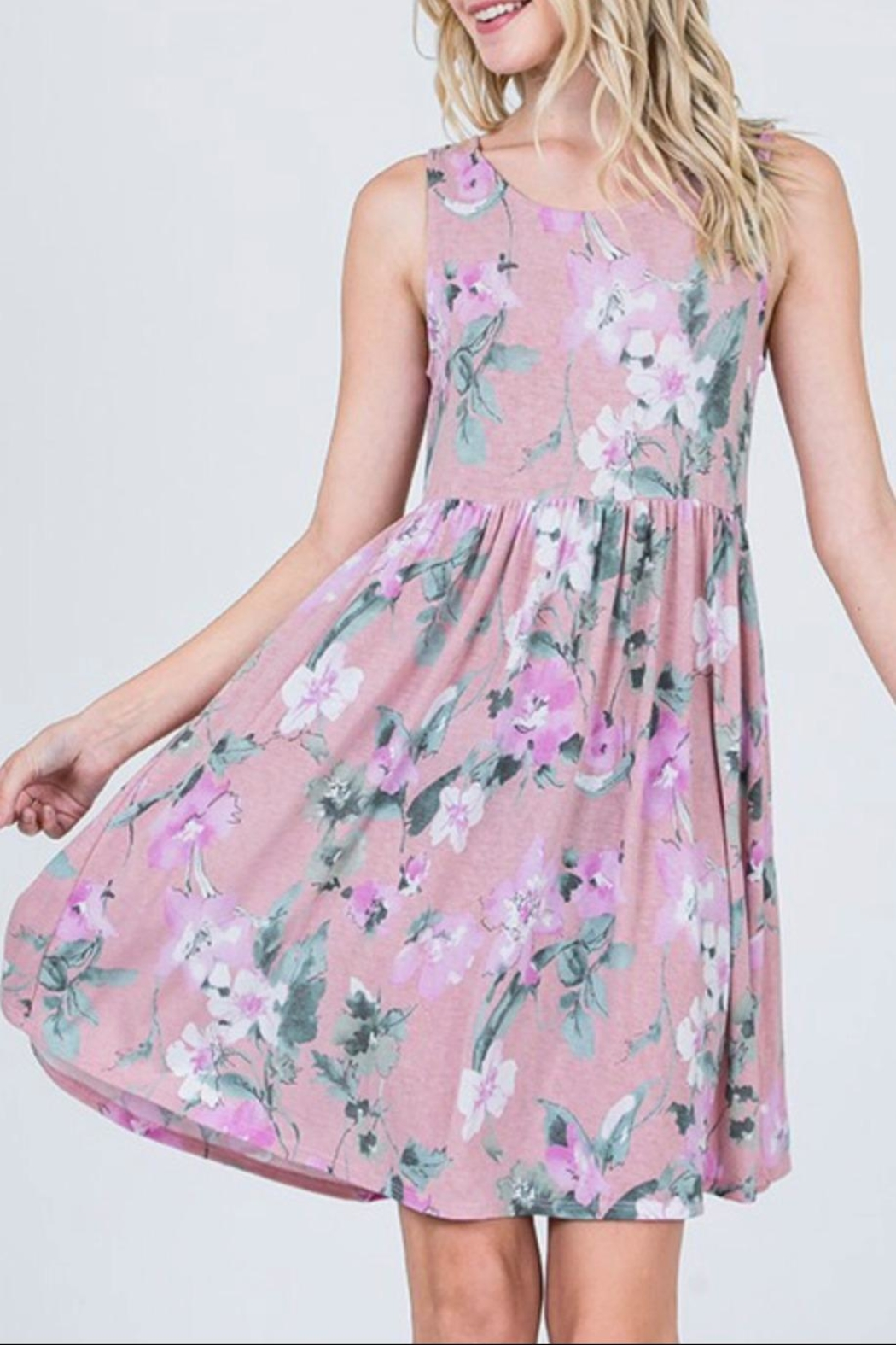CY Fashion Lavender Floral Dress - Main Image