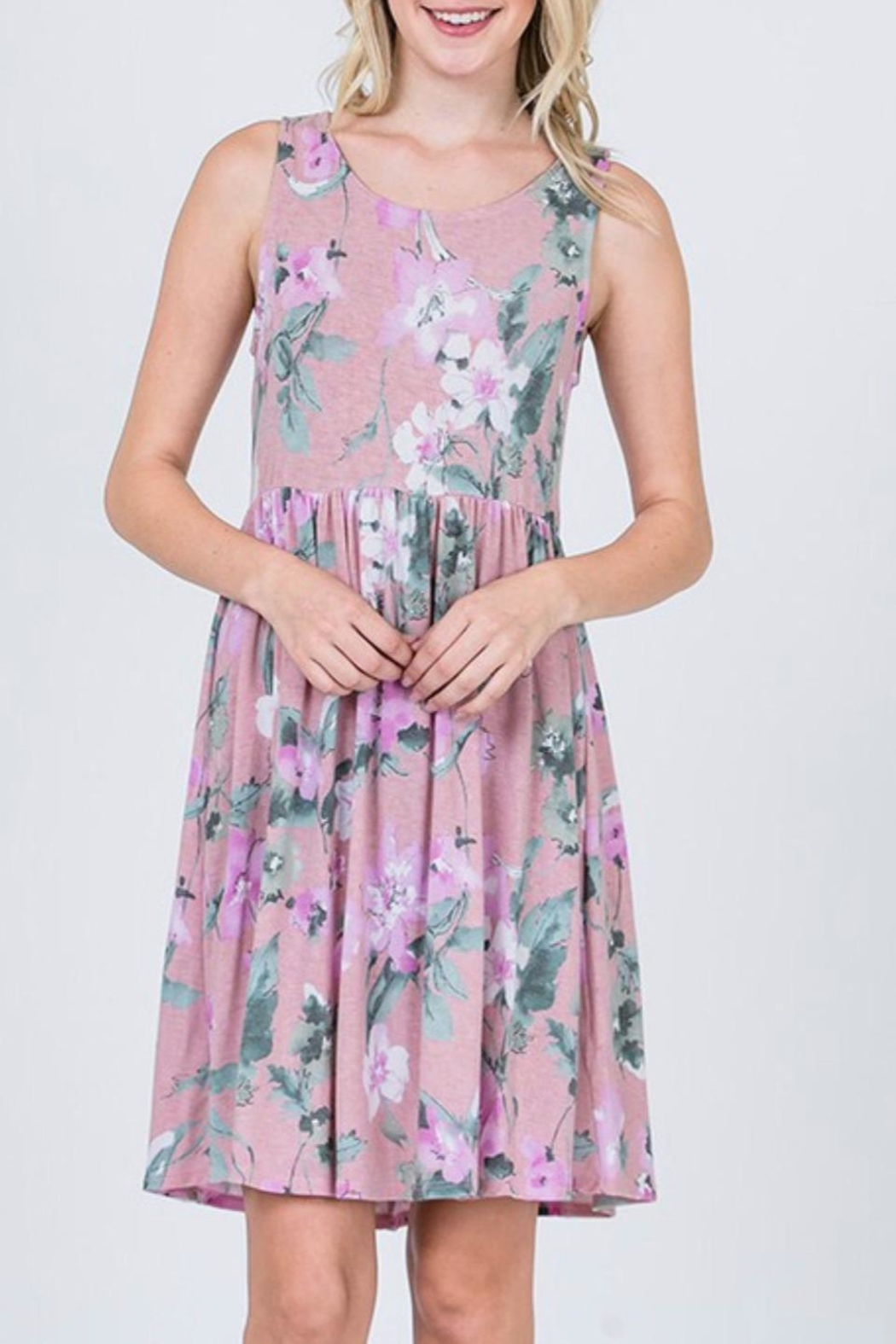 CY Fashion Lavender Floral Dress - Front Full Image