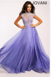 Jovani Lavender Illusion Evening Gown - Product Mini Image