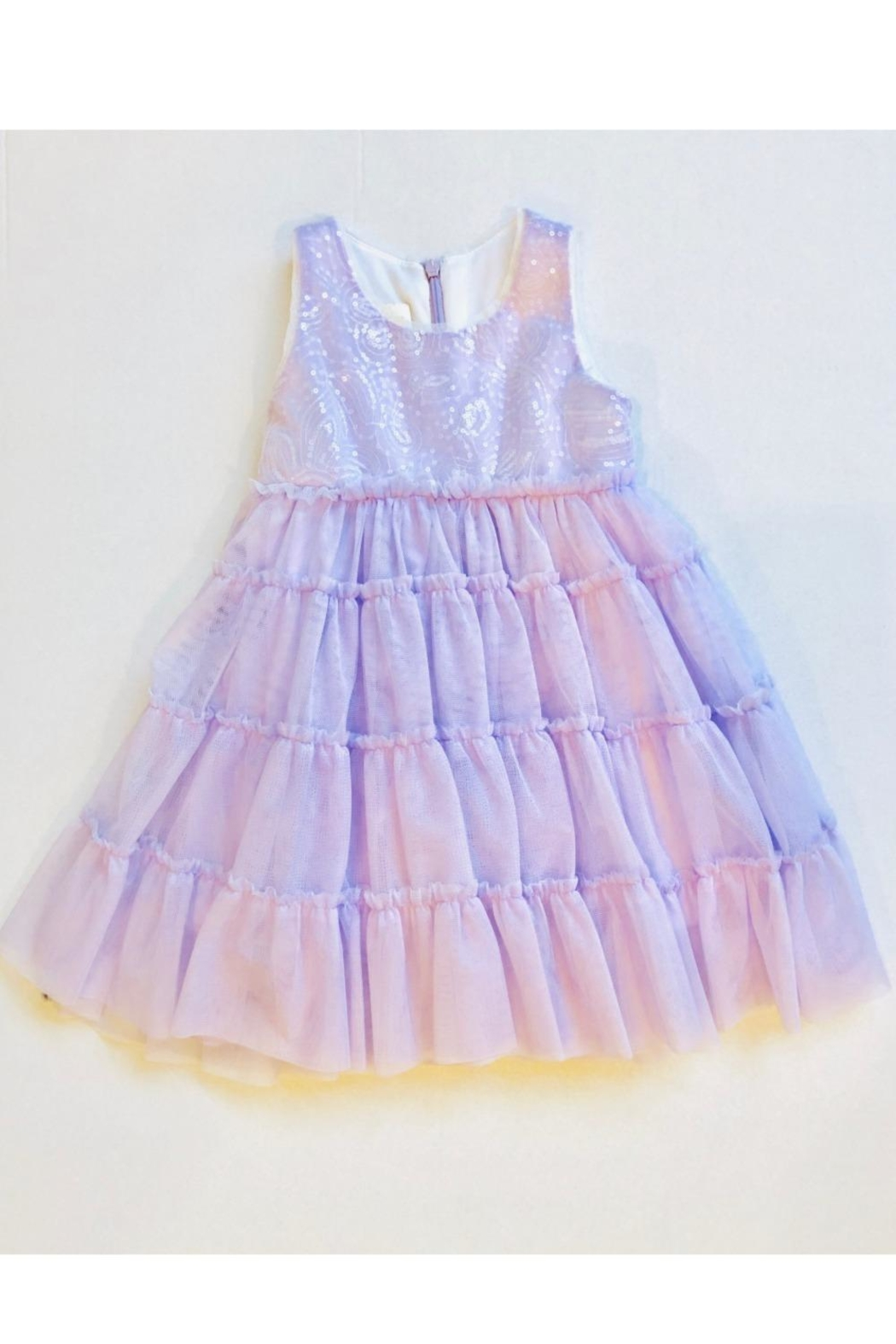 Isobella & Chloe Lavender Ruffle Dress - Front Cropped Image