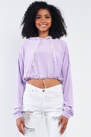 Salty Lavender Soft Relaxed Fit Long Sleeve Elastic Loop Draw String Tie Cropped Hoodie - Product Mini Image