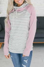 Ampersand Lavender Stripe Double-Hoodie - Product Mini Image